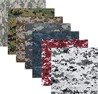 7 Pack - Digital Camouflage Cotton Military Bandanas (22