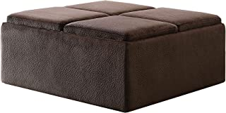 Homelegance Textured Plush Microfiber Storage Ottoman with 4-Flip Top Tray Inserts and Casters, Dark Brown