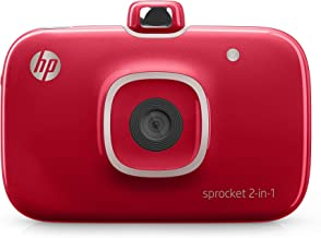 HP 2FB98A#B1H Sprocket 2-in-1 Portable Photo Printer and Instant Camera, print social media photos on 2x3 inch sticky-backed paper - Red (2FB98A) (2FB96A#742) (Renewed)