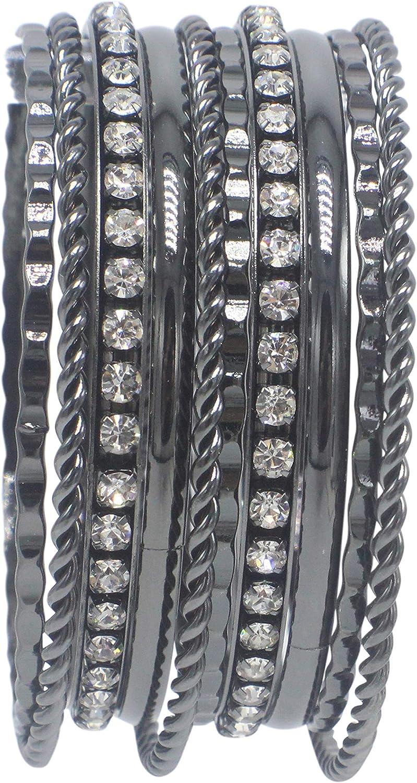 Hematite Hammered Twist Rhinestone Crystal Bangle Bracelet Set