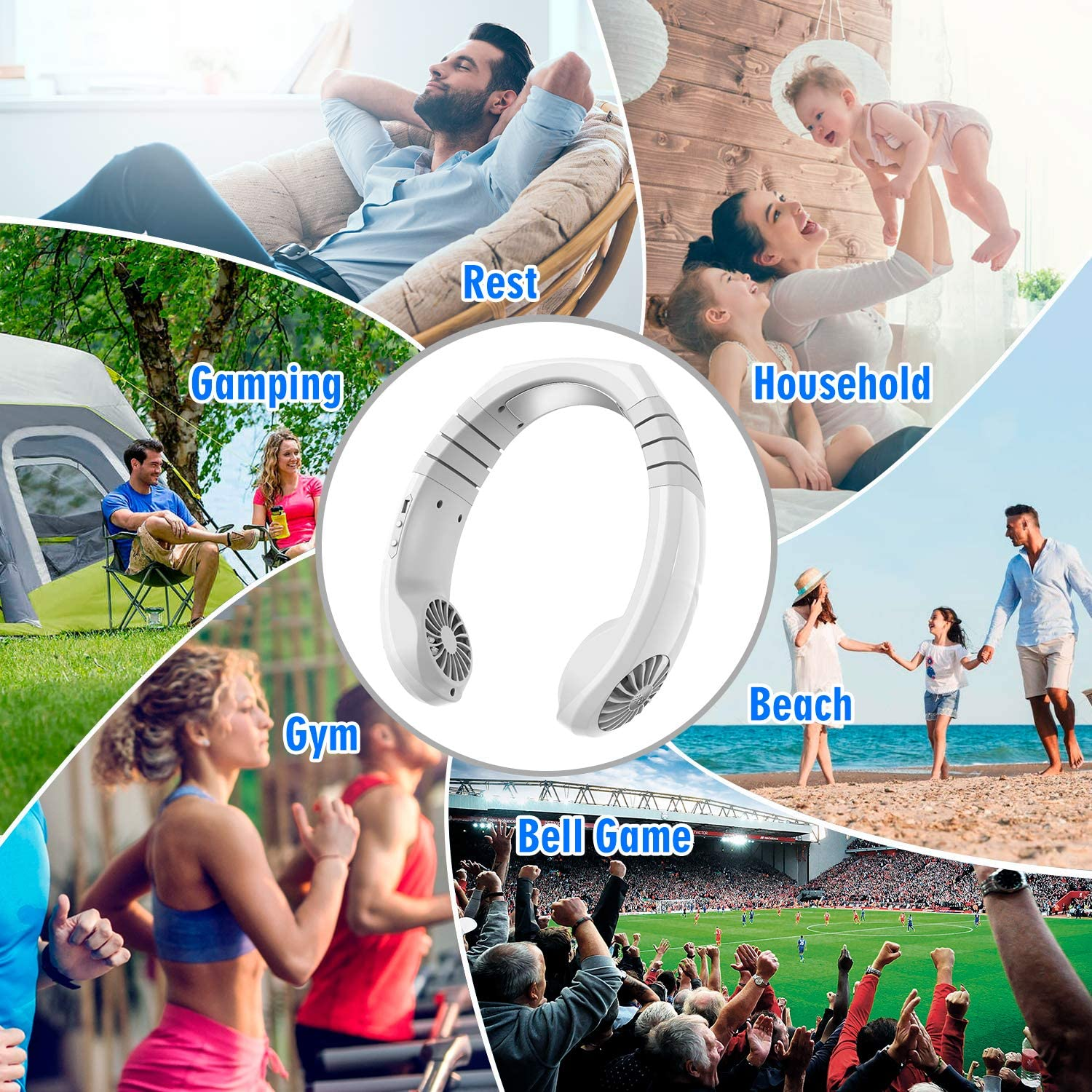 TINYOUTH Personal Neck Fans, Hands Free Neckband Fan USB Rechargable 2x1800mAh, Sports Fan Around Neck Fan with 3 Wind Speeds, 45° Rotation Neckband for GYM Office Reading Outdoor Activities, White