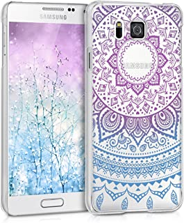 kwmobile Crystal Case for Samsung Galaxy Alpha - Hard Durable Transparent Protective Cover - Blue/Dark Pink/Transparent