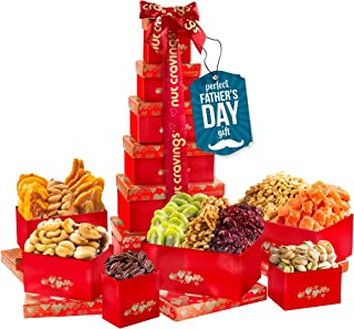 Fathers Day Dried Fruit & Nut Gift Basket, Red Tower + Ribbon (12 Piece Assortment) - Prime Arrangement Platter, Birthday ...