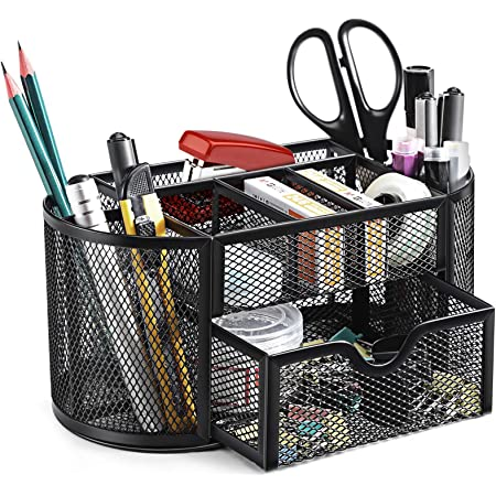 SITHON Mesh Desk Organiser, Desktop Stationery Tidy Storage with Drawer, Multifunctional Pencil Holder, Home Office School Supplies Accessories Caddy, (Black)