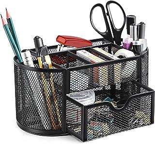 SITHON Mesh Desk Organiser, Desktop Stationery Tidy Storage with Drawer, Multifunctional Pencil Holder, Home Office School...