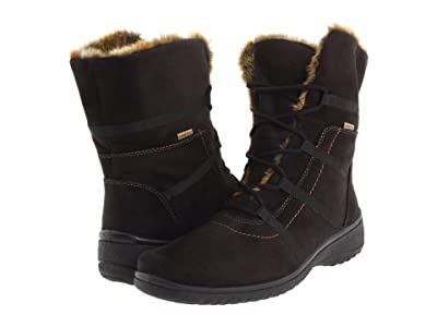 ara Magaly GORE-TEX(r) (Black Synthetic Suede w/ Beige Fur Trim) Women