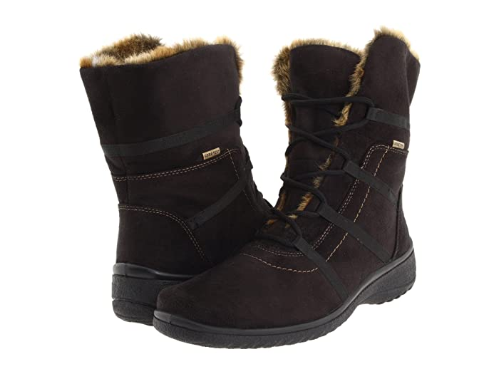 ara  Magaly GORE-TEX (Black Synthetic Suede with Beige Fur Trim) Womens Lace-up Boots