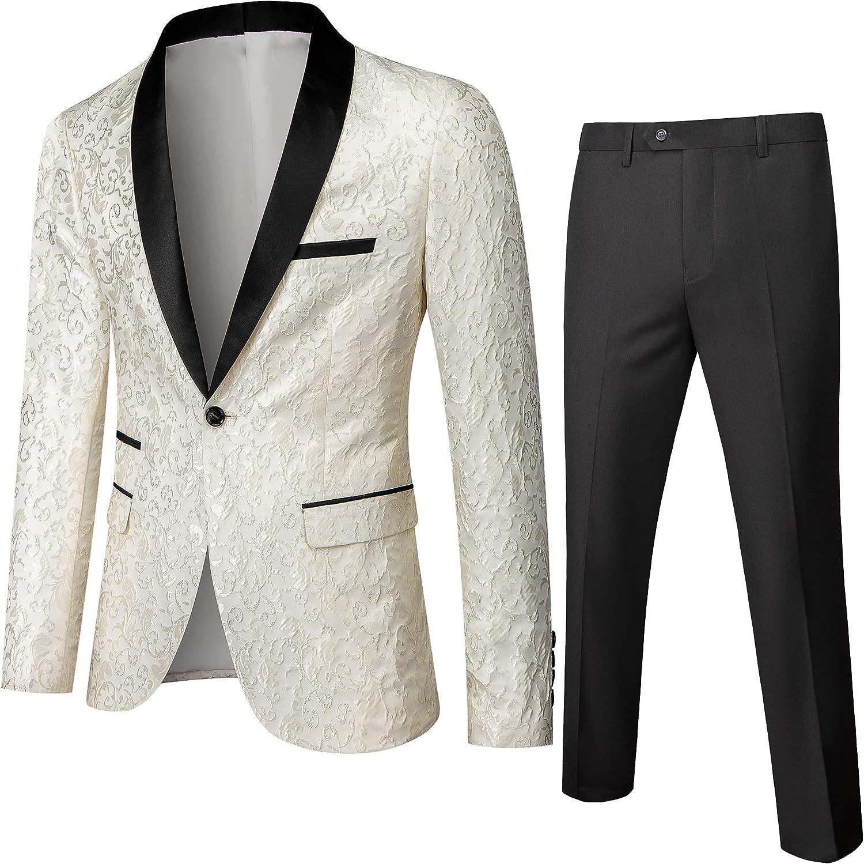 Men's Slim Fit 2 Piece Suit Floral Print Shawl Lapel Groom Wedding Tuxedo Set