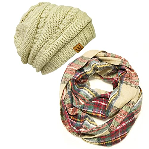 6a6d8592b04 Wrapables Winter Warm Knitted Infinity Scarf and Beanie Hat Set