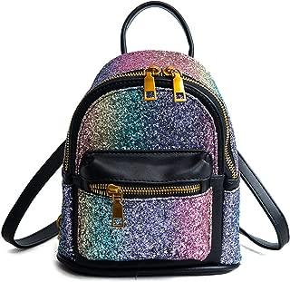 Girls Bling Mini Travel Backpack Kids Children School Bag Satchel Purses Daypack (black rainbow)