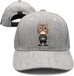 Baseball Cap for Men and Women,Kanye West Bear Design and Adjustable Travel Sunscreen Hat Outdoors