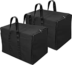 Storite 2 Pack Multi-Purpose Storage Bag/Clothing Storage Organiser/Toy Storage Bag/Stationery Paper Storage Bag with Zipper Closure and Strong Handle-(Black, 57x 36.8X 40.5 cm)