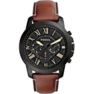 Men's Grant Quartz Stainless Steel and Leather Chronograph Watch, Color: Black, Brown (Model:...