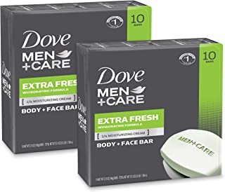 Dove Men+Care Body and Face Bar To Clean and Hydrate Skin Extra Fresh Body and Facial Cleanser More Moisturizing Than Bar Soap 3.75 oz 20 Bars