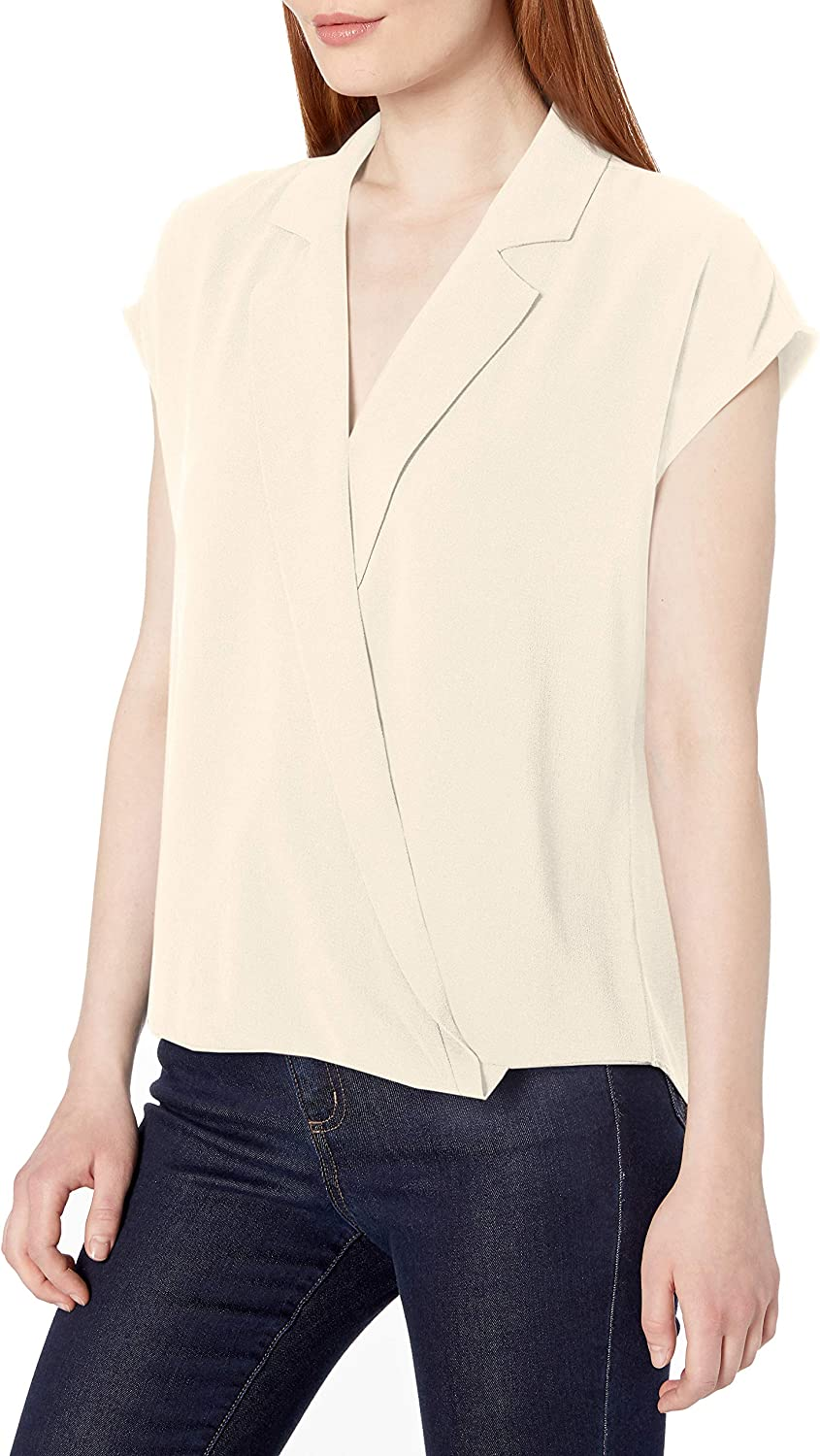Vince Camuto Women's Extend Blouse Notched Collar Los Angeles Mall Shoulder service