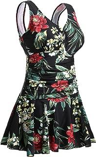 MiYang Women's Plus-Size Flower Printing Shaping Body One Piece Swim Dresses Swimsuit