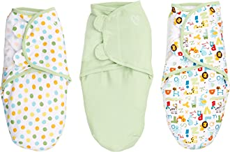 SwaddleMe Small 54216 Swaddle 0-3Months, Polka Dots, Plain & Letters Abc Alphabet 3-Pack, Green