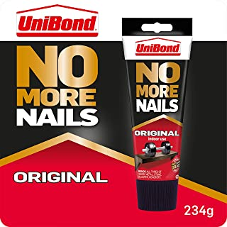 UniBond 1968125 No More Nails Original, Heavy-Duty Mounting Adhesive, Strong Glue for Wood, Ceramic, Metal & More, White i...