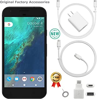 Google Pixel 1st Gen G-2PW4100 32GB Smartphone (Unlocked, Quite Black) GSM + CDMA / 4G LTE Capable + 1 Year Warranty Bundle - US Retail Version (Quite Black, 32GB 5