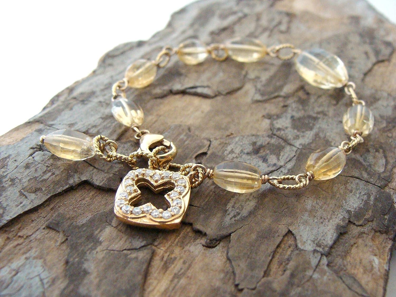 Max 67% OFF Citrine bracelet goldfill vermeil cz carats 20+ Limited Special Price charm citrine