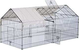 "PawHut 87"" x 41"" Outdoor Metal Pet Enclosure Small Animal Playpen Run for Rabbits, Chickens, Cats, Small Animals"