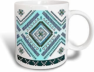 3dRose mug_165800_1 Aztec Andes Tribal Diamond Pattern Blue and White Ceramic Mug, 11-Ounce