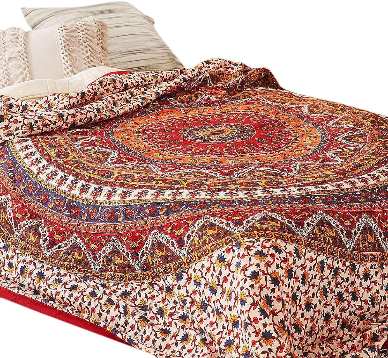 Couverture de couette de Mandala psychédélique de Marusthali couette simple jetez la housse de couette indienne et taie d'oreiller lit de jet de Bohème dans un ensemble de sac avec la feuille de lit