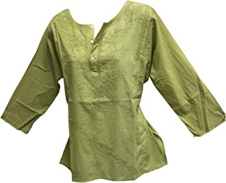 Classic Indian Gauze Cotton Embroidered Plus Long Sleeve Sixties Blouse Top