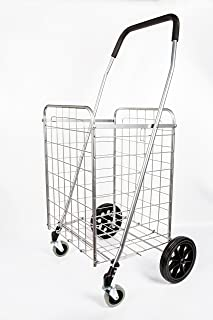 PrimeTrendz PT5614 Grocery Laundry Utility Shopping Cart   Heavy Duty, Light Weight Trolley with Rolling Swivel Wheels   Portable and Easily Collapsible to Save Space   Color: Silver