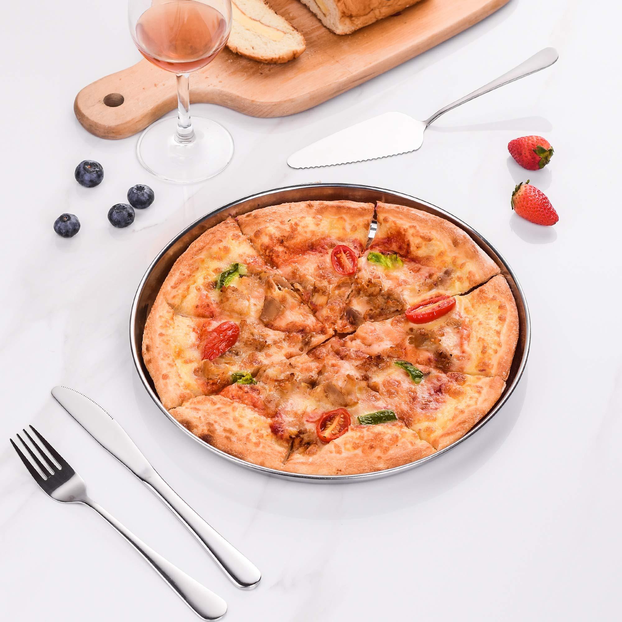 Velaze Juego de Bandejas de Pizza para Horno, Bandejas Redondas para Pizza de Acero Inoxidable 18/8, 4 Piezas(32cm): Amazon.es: Hogar