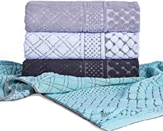 HAOD Oversize Hand Towel for Bathroom Set of 4, Import Solid Cotton Luxury Jacquard Fast Drying Hair Towels for Sports, Travel, Fitness, Yoga Family Towel Set 40 x 20 Inches
