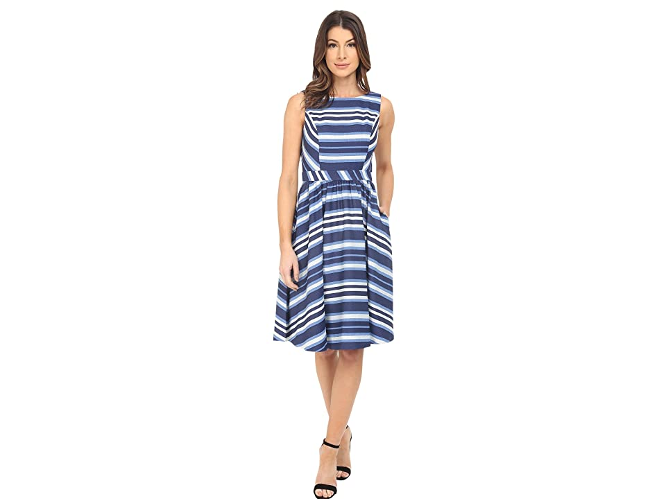 Donna Morgan Sleeveless Novlety Woven Fit and Flare (White/Indigo) Women