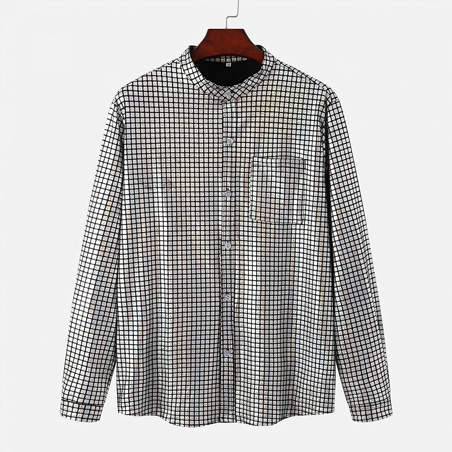 Tops for Mens Stand Collar Retro Long Sleeve Flower Printed Casual Lapel Button-Down Shirts