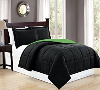 Fancy Collection 3pc King Size Comforter Set Down Alternative Reversible Solid Black/Lime Green New #Down Alternative Black/Lime Green