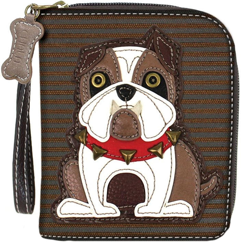 Chala Handbags Bulldog Zip-Around Wristlet Wallet - Bulldog Mom