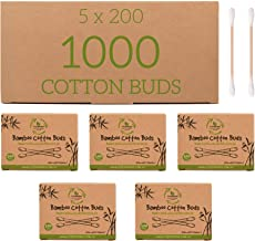 Bamboo Cotton Buds - 1000 pce - FutureUses™ - 5 x 200 Swabs - Eco Friendly Packaging - Biodegradable - Cleaning - Zero Waste Product - Q tips