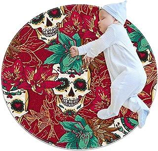 Dödskalle hjärtan och blommor, barn rund matta polyester överkast matta mjuk pedagogisk tvättbar matta barnkammare tipi tä...
