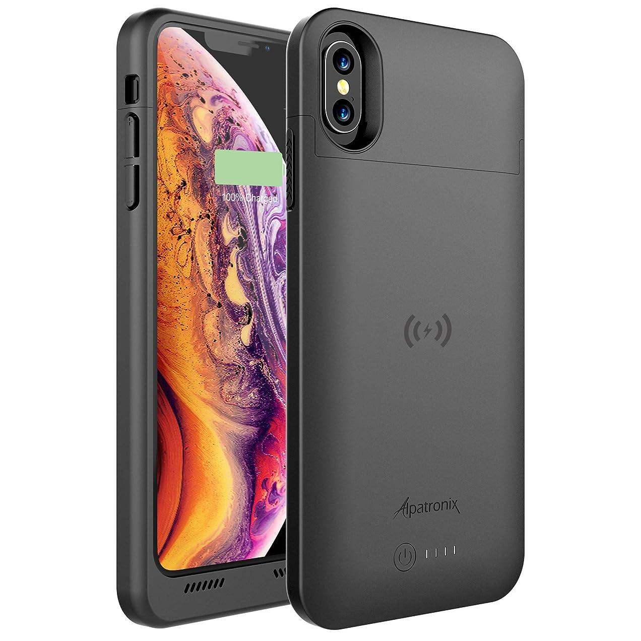 スープシティ野生互換性のあるQiワイヤレス充電付きiPhone Xsマックスバッテリーケース、Alpatronix BXXマックス6.5インチ5000mAh iPhone Xsマックスジュースバンク電源ケース用保護保護充電式拡張充電器