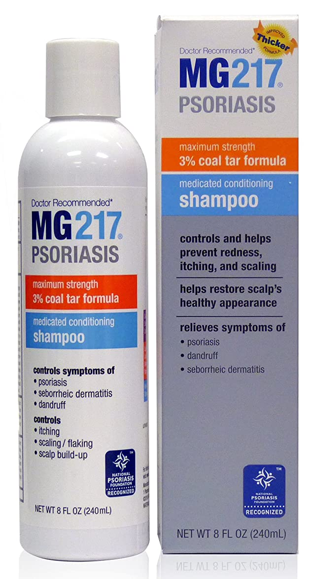 直面する火山の甲虫MG217 Psoriasis Medicated Conditioning Coal Tar Formula Shampoo, 8 Fluid Ounce by MG
