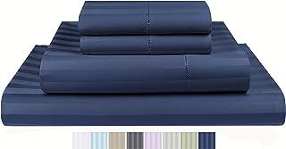 Threadmill Home Linen 500 Thread Count 100% Cotton Sheets, 2CM Damask Stripe Folkstone Blue Queen Sheets 4 Piece ELS Cotton Bed Sheet Set Luxury Sateen Sheets Fits Mattress Up to 18'' Deep Pocket