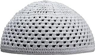 Cotton White Skull Cap Open Weave Design Comfortable Head Cover