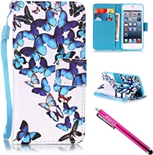 iPod Touch 6 / Touch 5 Case, Firefish [Kickstand] [Shock Proof] Double Protective Case Flip Folio Slim Magnetic Cover with Wrist Strap for Apple iPod Touch 5/6-Butterflies