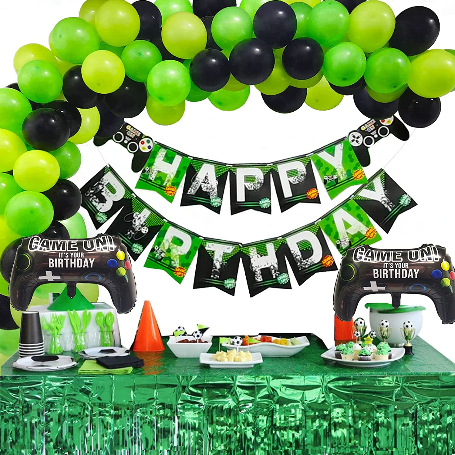 81pcs Gamer Birthday Party Decoration Kit for Boys Happy Birthday Gamer Banner Green Black Balloons Garland Arch Kit and 2 Foil Gamer Controller Balloons for Video Game Gaming Party Decorations