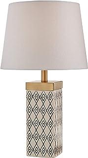 "Rivet Geometric Shape Ceramic Table Lamp With Bulb, Black and White, 8.0"" x 8.0"" x 16.75"", Grey"