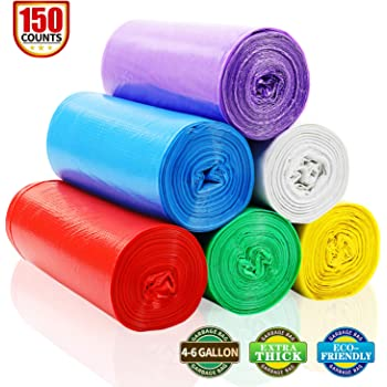 2.6 Gallon Colored Garbage Bags Bathroom Trash Can Liners 200 count, 5 Colors