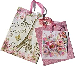 Pooch & Sweetheart Paris Paisley Rose Assorted Embellished Gift Bags, Pink (80490), 3 ct