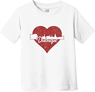 Retro Dubuque Iowa Skyline Red Heart Infant Toddler T-Shirt