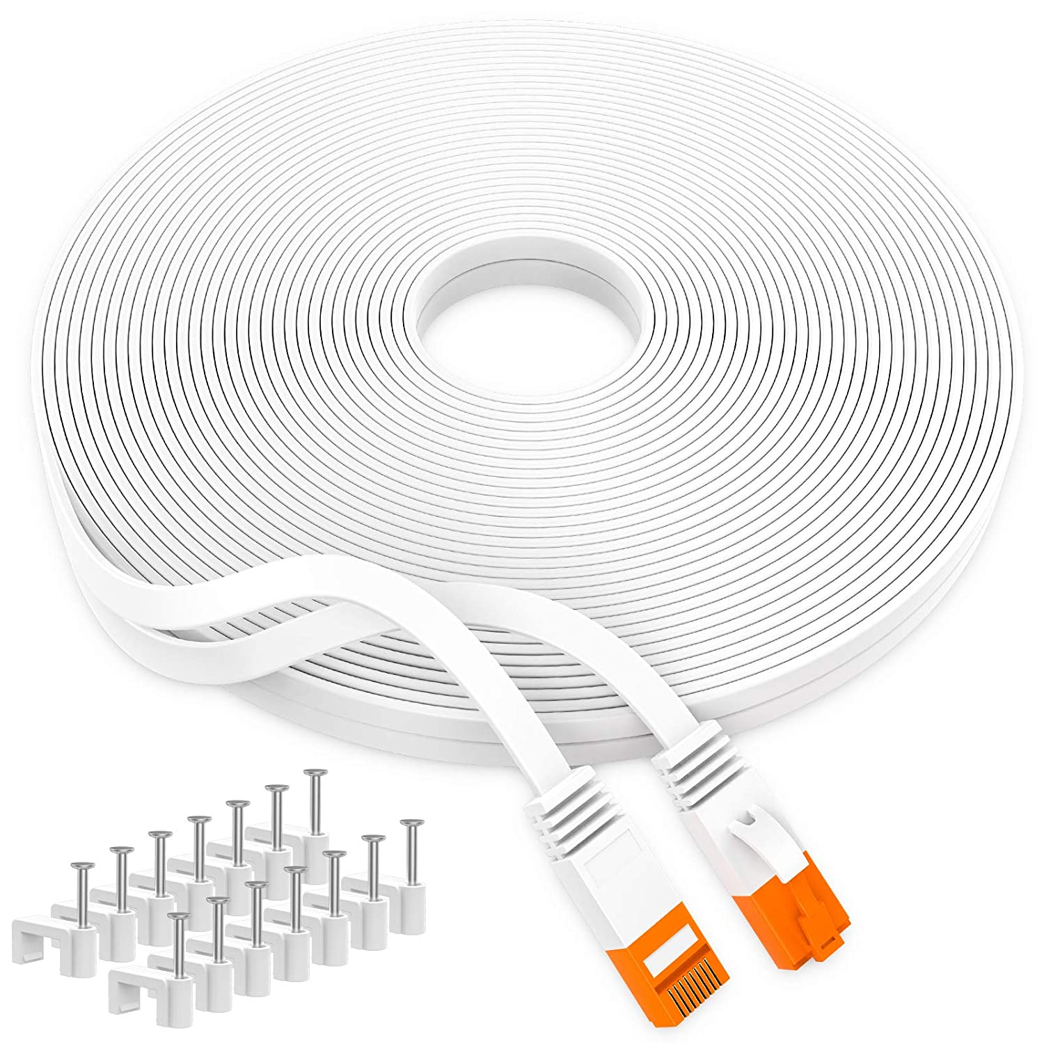 Boahcken Cat 6 Ethernet Cable White New Shipping Free Shipping Internet 50 ft Safety and trust Network LAN R