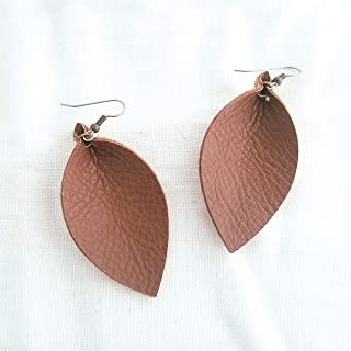 Handmade Leather Leaf Earrings, Brown Earrings, Statement Earrings, Joanna Gaines, Leaf Earrings, Fashion Earrings for Women, Dangle Drop Earrings, Boho, Bohemian Jewelry