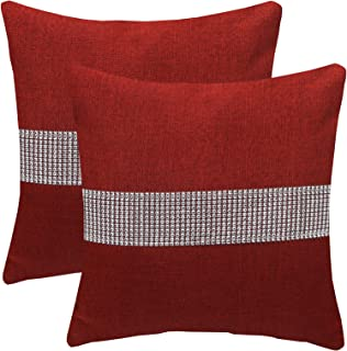 KYJS Pack of 2 Artificial Linen Pillowcases with Three-Dimensional Sequins Home Decor Square Cushion Cover for Sofa Bedroo...